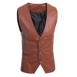 Wholesale Leather Motorcycle Vest Jacket - Wholesale- Mens Brown Leather Vest Motorcycle Sleeveless Jackets Man Suit Vest Classic Casual Male Single Breasted Black Waistcoat Slim Fit