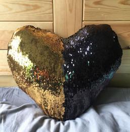 Cojines en forma de corazón almohada online-35 * 40cm Diseño en forma de corazón Funda de almohada de sirena de lentejuelas de 5 colores Funda de cojín de sofá reversible Fundas de almohada mágica Cafe Home