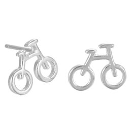 Wholesale Bike Jewelry Silver - 5 pairs lot Pure 925 Sterling Silver Mini Bicycle Bike Stud Earrings for Women Vintage Real Silver Jewelry pendientes de plata