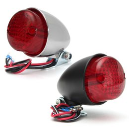 Wholesale Red Motorcycle Tail Lights - Universal 12V Motorcycle Tail Light LED Motorbike Rear Light For Harley Cruiser Chopper Chrome Black