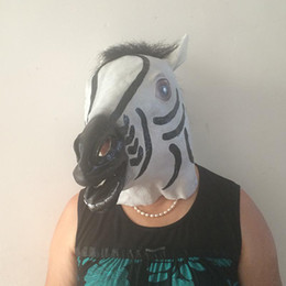 Wholesale Silicone Zebra - NEW Funny Zebra Latex Head Mask Cosplay Animal Halloween Party Costume Prop Deluxe Zebra Costume Horse Zoo Safari Animal