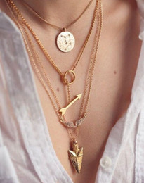 Wholesale Arrow Scale - Ms multilayer necklace Angel wings necklace Arrow scales hanging piece sautoir alloy gold-plated ornaments