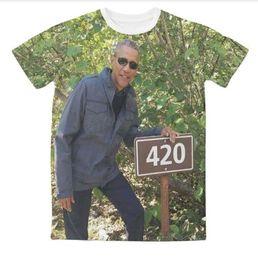 Wholesale Obama T Shirts - Newest Fashion Womens mens 420 Obama Funny 3D Sublimation Print Casual T-shirt XTX05