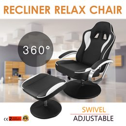 Wholesale Recliner and Ottoman Set PU Leather Swivel Recliner Chair Racing Car Seat Recling Chair with Ottoman Armchair Footrest Stool
