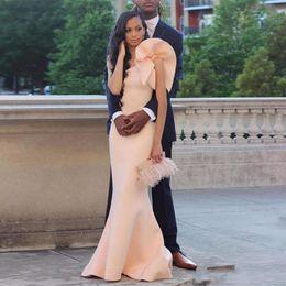 Wholesale Red Dinner Wedding Dress - 2017 cheap prom dress Unique One Shoulder Blush wedding guest Dresses Elegant Satin Mermaid floor-length Ruffled Women Dinner Party Dress E