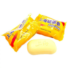 Wholesale Acne Eczema Psoriasis - 85g Shanghai Sulfur Soap 4 Skin Conditions Acne Psoriasis Seborrhea Eczema Anti Fungus Perfume Butter Bubble Bath Healthy Soaps 0608006