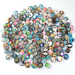 Wholesale Gemstone Buttons - Mixed Pattern 18mm Aluminum Glass Gemstone Insight Guides Snap Button Jewelry Charms DIY Accessories For Snap DIY Making Braclets Bangles