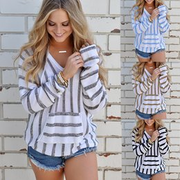 Wholesale Hooded Blouse - Autumn Winter New Women Clothes Fashion Tops with Hooded Striped T Shirts Loose Blouse RF0161