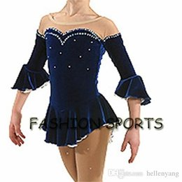 Wholesale Blue Ice Skating Dresses - 2016 Competition Figure Ice Skating Dresses For Women With Spandex Beautiful New Brand Figure Skating Competition Dress DR2563