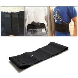 Wholesale Holster Guns - Tactical adjustable belly band waist pistol gun holster with 2 mag pouches bag black for hunting ht253