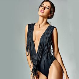 Wholesale V Neck Fringe Monokini Swimsuit - 2017 Fashion Women Black Fringes Swimsuit One Piece Bathing Suit Deep V-Neck Backless Monokini Tassel Tankini Swimwear CCG0277
