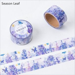 Wholesale Diary Decoration Sticker - Wholesale- 2016 20mm Wide Purple Flower Butterfly Dreamland Washi Tape DIY Diary Decoration Planner Scrapbook Sticker Label Masking Tape