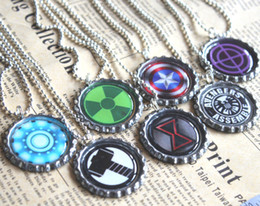 Wholesale Avengers Jewelry - 7pcs all avengers necklaces bottle caps necklace, bottle caps jewelry, gift