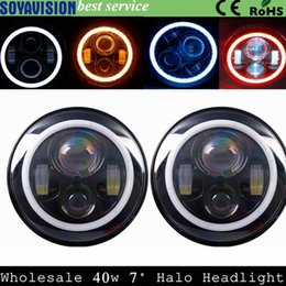 "Wholesale Halo Headlight Kits - 7inch LED Halo Headlights Kit 7"" LED Headlight H4 Hi low Auto Headlight With Angle Eye For Jeep Wrangler JK TJ Hummer Defender"