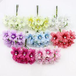 Wholesale Artificial Crystals For Decoration - 3cm 6pieces Artificial Lily flower Bouquet,silk plum crystal flowers for wedding decoration Garland Flowers Plants