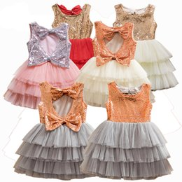 Wholesale Summer Kids Lace Backless Dress - Hot Sell Adorable Childrens Fashion Sequin Backless Bowknot Sleeveless Dress Girls Summer Round Neck Dress Kids Dress High Quality