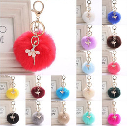 Wholesale Metal Charms Pendants Bow - PomPom Ballet Girl Key Ring Fur Pom Pom Bow Keychain Keyring Fluffy Rex Rabbit Fur Ball Key Chain Handbag Pendant Charm KKA2719