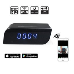 Wholesale Motion Activated Spy Camera Clock - 32GB Wi-Fi Hidden Camera Spy Clock 1080P HD Motion Activated Alarm App Real-time Video Remotely Monitoring for Home Security Wireless IP Cam