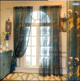 Wholesale Embroidered Tulle Curtains - Free shipping Four Colors Available Embroidered Voile Curtains Bedroom Sheer Curtains for Living Room Tulle Window Curtains
