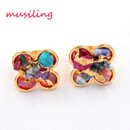 Wholesale Gem Adjustable Rings - Geometric Clover Rings Natural gem Stone Ring Adjustable Lovers Jewelry Mix Colors Crystal Quartz Accessories Charms Jewelry for Women