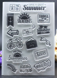Wholesale Wholesale Albums - Wholesale- CLEAR STAMPS DIY Scrapbook Card album paper craft silicon rubber roller transparent stamp travel summer vacation holiday 11x16cm
