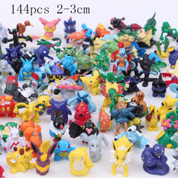 Wholesale anime toys - 144 Pcs lot 2-3 cm Pikachu Action Figure Toys Japanese Cartoon Anime Mini Collections Birthday Gifts Cartoon doll toy