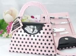 Wholesale Dotting Kit - nail art kit,hot Pink Polka Dot Purse Manicure Set,nail cutter,nail trimmer,wedding gift favor bridal shower favors and gifts #Z82