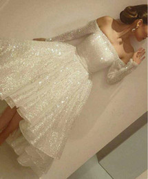Wholesale Knee High Gown Dresses - Long sleeve Bateau High Low Hi-Lo dress Sequins Lace Ball Gown Spaghetti waist belt Homecoming Dresses