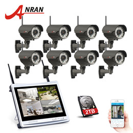 Wholesale Varifocal Cameras - ANRAN 8CH 12 Inch LCD NVR Wireless Security System 2TB HDD 720P HD Varifocal 2.8mm-12mm Outdoor 78 IR WIFI Surveillance Camera