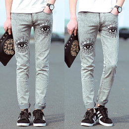 Wholesale Eye Jeans - Wholesale-2016 New Pants Metrosexual Korean Men Jeans Pants Embroidered Eyes