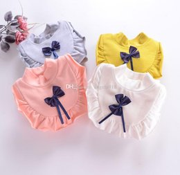 Wholesale Kids Sweaters Fashion - Spring autumn baby Bow Lace collar sweater children Long Seleeve knitting pullover fashion kids sweaters C1602