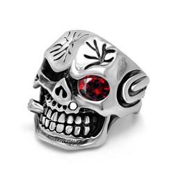 Wholesale Ring Skull Man - Stainless steel men ring ruby Skeleton Skull latest finger desgins free shipping