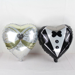 Wholesale wholesale heart foil balloon - 50pcs lot 18inch heart wedding dress balloons bride groom helium foil globos love ballon marriage wedding party supplies air baloes