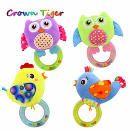 Wholesale Owl Infant Toys - Wholesale- Baby Infant Toy Soft Plush Handbells Rattles Cartoon Owl Bird Mobiles Newborn Toddlers Educational Toys Ring Bell puzzle toys
