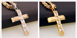 Wholesale Mens Byzantine Necklace - 50MM Length * 32mm Width Fashion Women Mens Chain Cross Pendant With pebble Byzantine Stainless Steel Pendent Necklace Gift