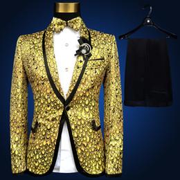 Wholesale Sequined Jacket Suit - 2018 brand new gold sequined Mens Wedding Suits jacket Plus Size fashion slim paillette formal party prom Men Suit Blazers S-4XL