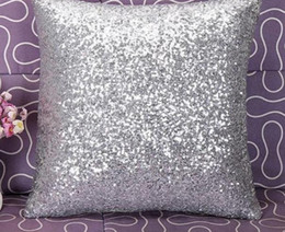 Wholesale Pillow Case Covers Red - Zero Solid Color Glitter Sequins Throw Pillow Case Cafe Home Decor Cushion Covers