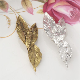 Wholesale Vintage Headdresses - Hot Fashion Vintage Gold Metal Leaf Hairpins Hair Clips For Women Leaves Headpiece Barrettes Wholesale Accessories Headdress