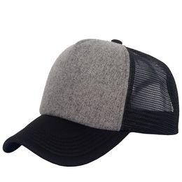 Wholesale Gray Black Snapbacks - New Polyester Mesh Hat Blank Trucker Caps Adjustable Sports Baseball Snapbacks Black Gray Unisex Spring & Fall Man