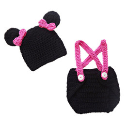 Wholesale Mouse Outfits - Adorable Newborn Cartoon Mouse Outfit Handmade Crochet Baby Girl Animal Beanie Hat Diaper Cover Set Infant Halloween Costume Photo Prop