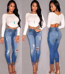 Wholesale 2xl Jeans For Female - New 2017 Hot Fashion Ladies Cotton Denim Pants Stretch Womens Bleach Ripped Knee Skinny Jeans Denim Jeans For Female