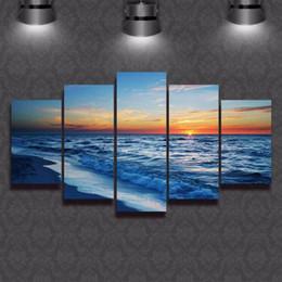 Wholesale Artwork Canvas 5pcs - Wall Art Sunset Beach Canvas Prints Sea Wave 5PCS Seascape Pictures Ocean Art Painting Canvas Artwork for Living Room Decor