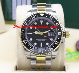 Wholesale Ii Tone - Factory Fashion NEW II 2 TONE 116719 Black Ceramic Bezel Automatic Mechanical Men Watches Top Quality