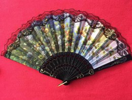 Wholesale Lace Hand Fans Wholesale - Lace Spain style Color pattern wedding gift favors mix color for dance bridal fans Bridesmaid hollow bamboo handle wedding accessories Fold