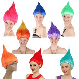 2019 pelucas para niños Trolls peluca Kids Party pelucas pelucas de pelo niños Cosplay Party Supplies Carnival Ball Prop 9 colores IC684 pelucas para niños baratos