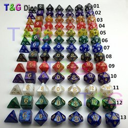Wholesale Gaming Set - Wholesale- 7Pcs Set Resin Polyhedral TRPG Games For Dungeons Dragons Opaque D4-D20 Multi Sides Dice Pop for Game Gaming dice gift dice toy