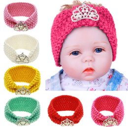 Wholesale Babies Knitted Headwraps - Europe Fashion Infant Baby Knitted Headbands Girls Hair Bands Childrens Crown Hair Accessories Lovely Kids Headwraps 6 Colors A48