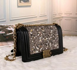 Wholesale Stones Hard - Luxury Brand Fashion Designer LE BOY Colorful stone Women Shoulder Bags Classic Black Leather Handbags Gold Chains Lady messenger bag totes