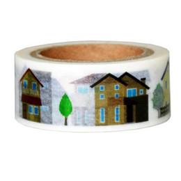 Wholesale Japanese Washi Paper Wholesale - Wholesale- 2016 1Roll High Quality 20mmx7m House Pattern Japanese Washi Decorative Adhesive Tape DIY Masking Paper Tape Sticker Free shipp