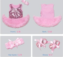 Wholesale Cute Kid Shoes - 4 colors New arrivals baby girls sleeveless sequined dress 3 pieces set 100% cotton kids dress+headband+ shoes little princess outwear dress